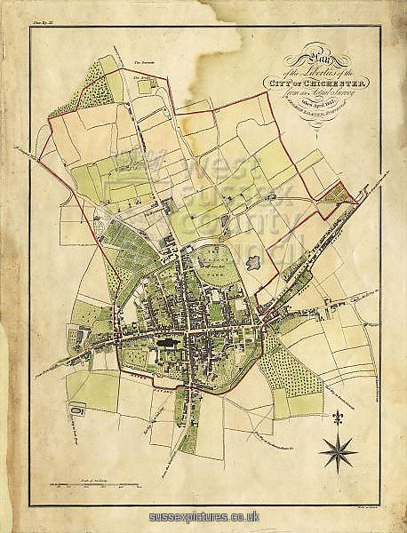 Map includes area outside of the city walls. Plan of the liberties of the City of Chichester from an actual survey taken April 1812 by George Loader, Surveyor Printed Maps Collection West Sussex Record Office Ref No: PM 10
