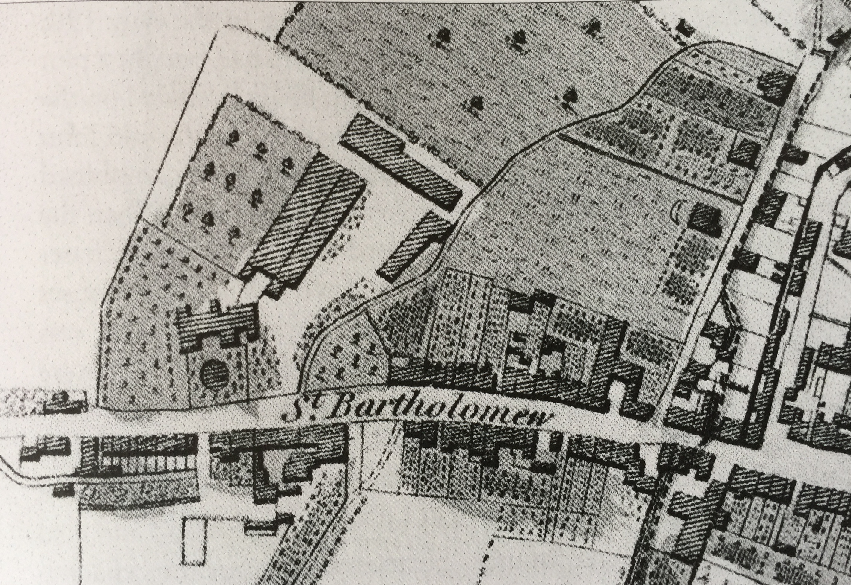 An extract from Loader's 1812 town plan showing Westgate.