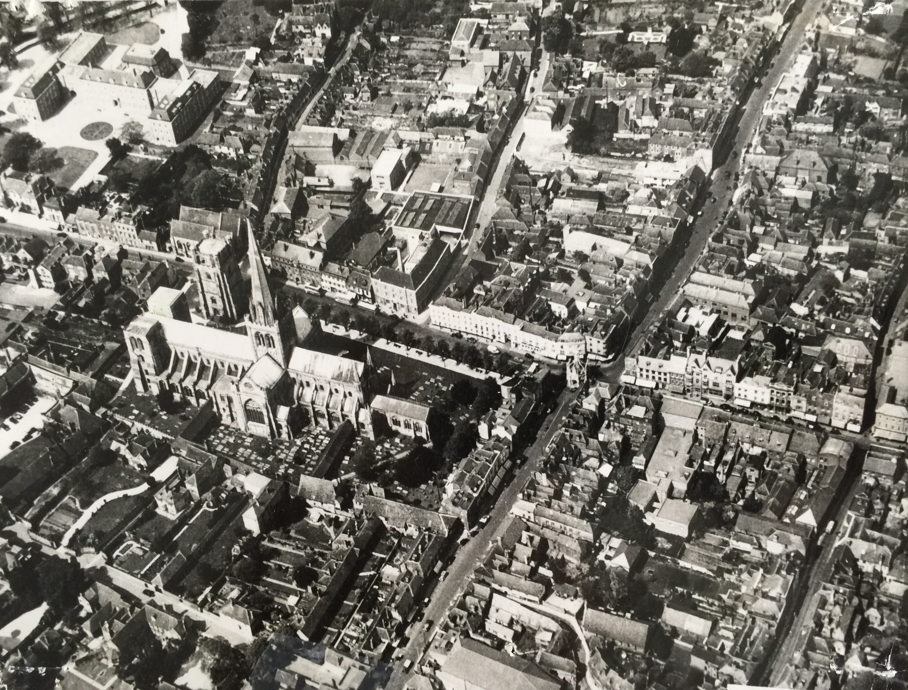 Aerial view of Chichester pre-1960 - Collection Ken Green