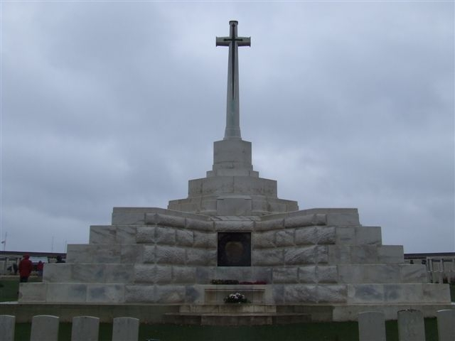 This is the Cross of Sacrifice mentioned in the description as having been erected on the King's advice,on one of the German pill-boxes.